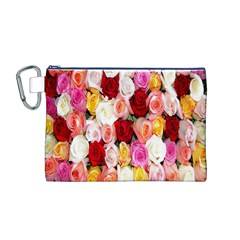 Rose Color Beautiful Flowers Canvas Cosmetic Bag (m)