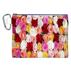 Rose Color Beautiful Flowers Canvas Cosmetic Bag (XXL)