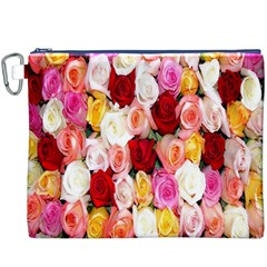Rose Color Beautiful Flowers Canvas Cosmetic Bag (xxxl)