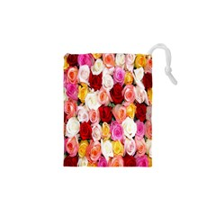 Rose Color Beautiful Flowers Drawstring Pouches (xs)