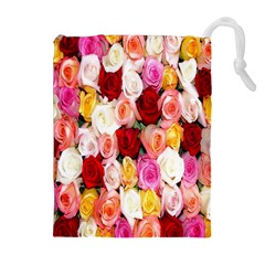 Rose Color Beautiful Flowers Drawstring Pouches (Extra Large)
