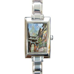 Japanese Art Painting Fantasy Rectangle Italian Charm Watch