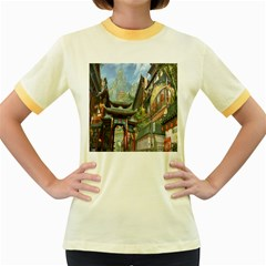 Japanese Art Painting Fantasy Women s Fitted Ringer T Shirts