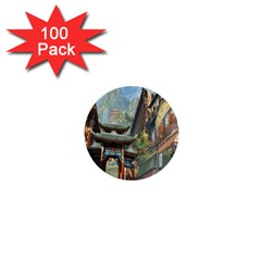 Japanese Art Painting Fantasy 1  Mini Buttons (100 Pack)
