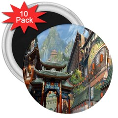 Japanese Art Painting Fantasy 3  Magnets (10 pack)