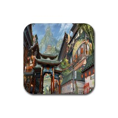 Japanese Art Painting Fantasy Rubber Square Coaster (4 Pack)