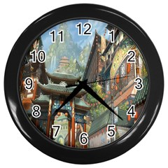 Japanese Art Painting Fantasy Wall Clocks (black)