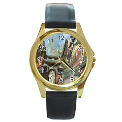 Japanese Art Painting Fantasy Round Gold Metal Watch