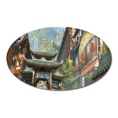 Japanese Art Painting Fantasy Oval Magnet