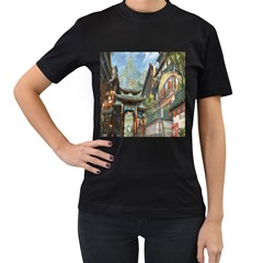 Japanese Art Painting Fantasy Women s T-Shirt (Black) (Two Sided)