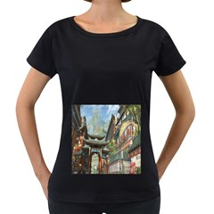 Japanese Art Painting Fantasy Women s Loose Fit T Shirt (black)