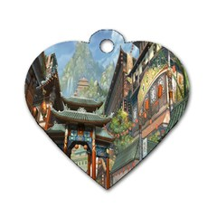 Japanese Art Painting Fantasy Dog Tag Heart (one Side)