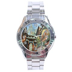 Japanese Art Painting Fantasy Stainless Steel Analogue Watch