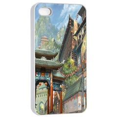 Japanese Art Painting Fantasy Apple iPhone 4/4s Seamless Case (White)
