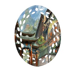 Japanese Art Painting Fantasy Oval Filigree Ornament (Two Sides)
