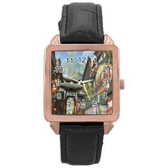 Japanese Art Painting Fantasy Rose Gold Leather Watch