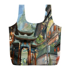 Japanese Art Painting Fantasy Full Print Recycle Bags (l)