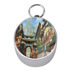 Japanese Art Painting Fantasy Mini Silver Compasses