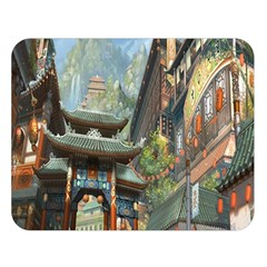 Japanese Art Painting Fantasy Double Sided Flano Blanket (Large)
