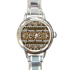 African Vector Patterns Round Italian Charm Watch