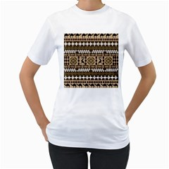 African Vector Patterns Women s T-Shirt (White) (Two Sided)