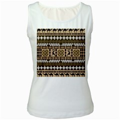 African Vector Patterns Women s White Tank Top