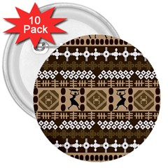 African Vector Patterns 3  Buttons (10 pack)