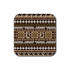 African Vector Patterns Rubber Square Coaster (4 Pack)