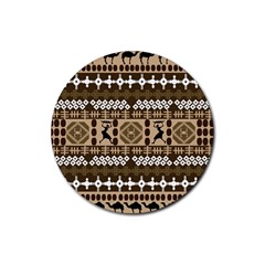 African Vector Patterns Rubber Coaster (Round)