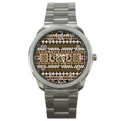 African Vector Patterns Sport Metal Watch