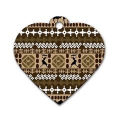 African Vector Patterns Dog Tag Heart (two Sides)