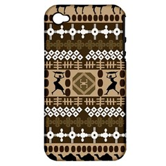 African Vector Patterns Apple iPhone 4/4S Hardshell Case (PC+Silicone)