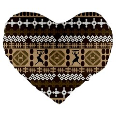 African Vector Patterns Large 19  Premium Heart Shape Cushions