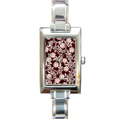 Flower Leaf Pink Brown Floral Rectangle Italian Charm Watch