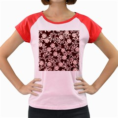 Flower Leaf Pink Brown Floral Women s Cap Sleeve T-Shirt