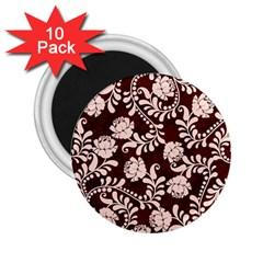 Flower Leaf Pink Brown Floral 2 25  Magnets (10 Pack)