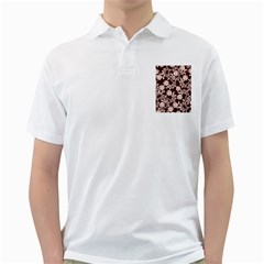 Flower Leaf Pink Brown Floral Golf Shirts