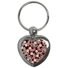 Flower Leaf Pink Brown Floral Key Chains (heart)