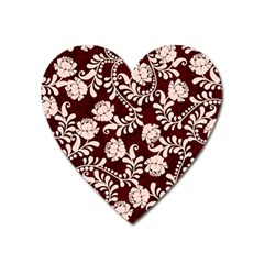 Flower Leaf Pink Brown Floral Heart Magnet