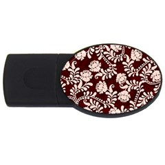 Flower Leaf Pink Brown Floral USB Flash Drive Oval (2 GB)