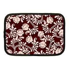 Flower Leaf Pink Brown Floral Netbook Case (Medium)