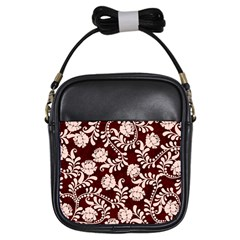 Flower Leaf Pink Brown Floral Girls Sling Bags