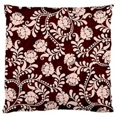 Flower Leaf Pink Brown Floral Large Flano Cushion Case (Two Sides)