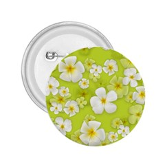 Frangipani Flower Floral White Green 2.25  Buttons