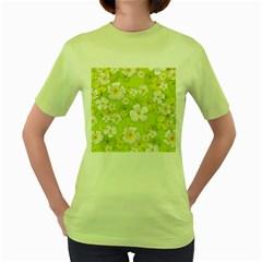 Frangipani Flower Floral White Green Women s Green T-Shirt