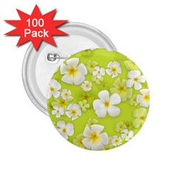 Frangipani Flower Floral White Green 2 25  Buttons (100 Pack)
