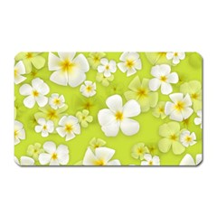 Frangipani Flower Floral White Green Magnet (rectangular)