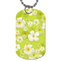 Frangipani Flower Floral White Green Dog Tag (one Side)