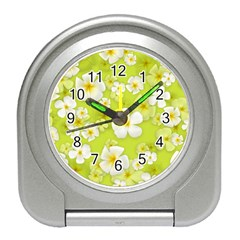 Frangipani Flower Floral White Green Travel Alarm Clocks