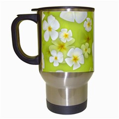 Frangipani Flower Floral White Green Travel Mugs (White)